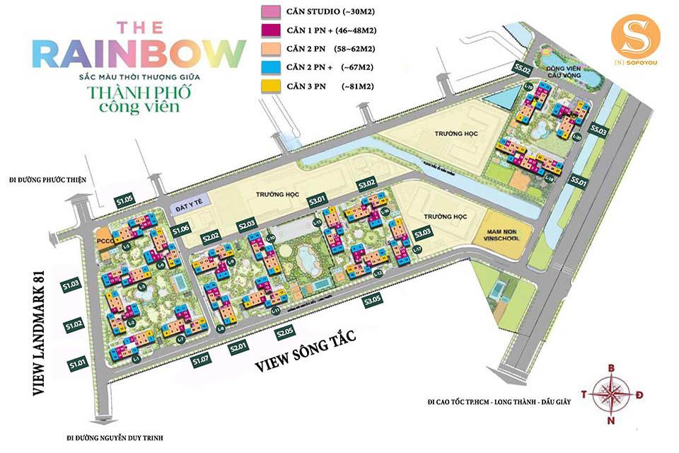 Mặt Bằng Phân Khu The Rainbow - Dự Án Vinhomes Quận 9 Mở Bán Đợt 1